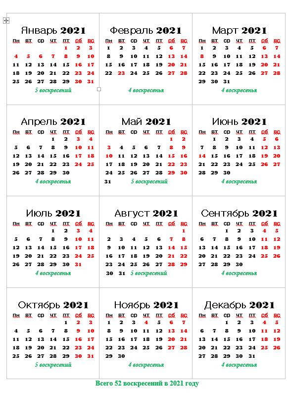 сколько воскресений в 2021 году